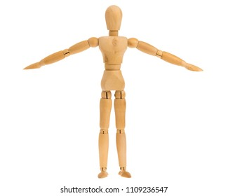 wooden figure in arms down standing pose isolated on white background, include clipping path.