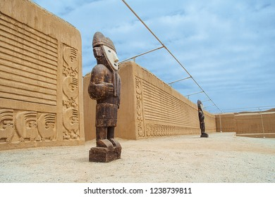 Wooden figure in the citadel of Chan Chan,  city of mud. Trujillo, Peru