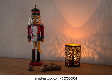 Wooden figure of a nutcracker produced in erz mountains as decoration for Advent and Christmas