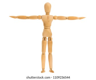 wooden figure in raise perpendicular arms pose isolated on white background, include clipping path.