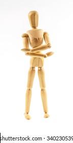 Wooden figure walking  on white background