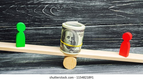 wooden figures of people on scales and dollars between them. a dispute between two businessmen. trial. debt restructuring. wage arrears. protection of employee rights. court. Labor Law