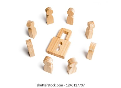 Wooden figures of people surround the padlock. concept of protection of personal data trade secrets, Preservation of secrets. Bank secrecy. Protection of information networks, dedication to secrets.
