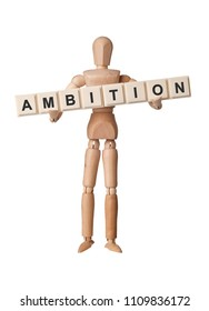 Wooden figurine with the word AMBITION isolated on white background
