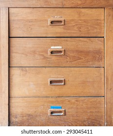 Wooden filing cabinet in the home office.
