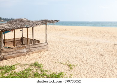 Wooden fishing beach hut in Hikkaduwa