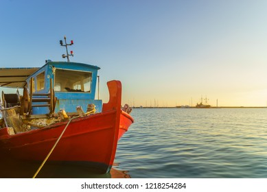 wooden fishing boat moored in port of Zante town. Zakynthos Greek island in the Ionian Sea
