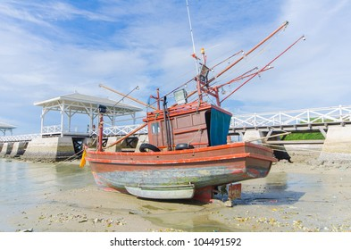 Wooden fishing boat on the beach.Thailand