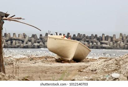 Wooden fishing boat on the Mediterranean coast, Winter 2018, Port Said, Egypt