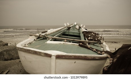Wooden fishing boat on the Mediterranean coast, Winter 2018, Port Said, Egypt.