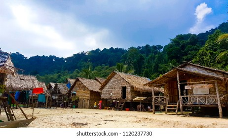 The wooden fishing boats and fisherman village in Koh Surin