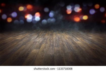 Wooden floor with abstract blurred lights background. 3d rendering