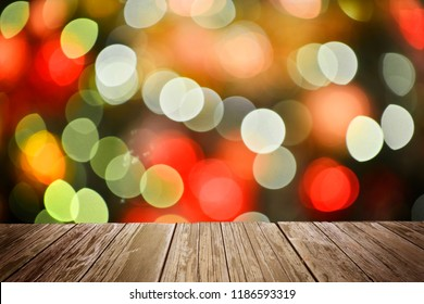 Wooden floor with Abstract light bokeh Chistmas background