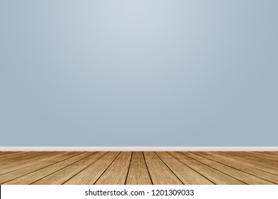 Wooden floor with blue wall as a background