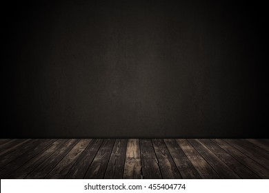 Wooden floor and brown concrete wall empty background