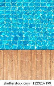 Wooden floor edge of swimming pool background