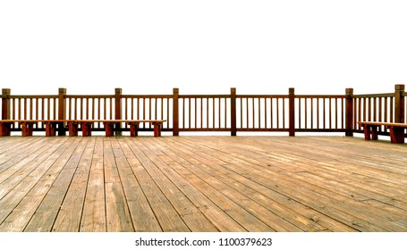 Wooden floor and fence on white background