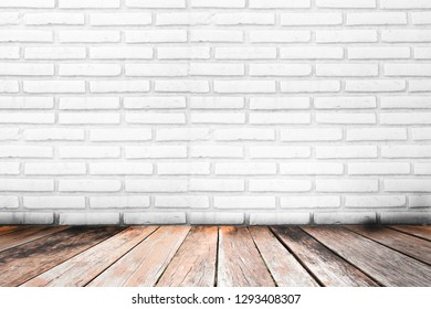 wooden floor interior room with white brick wall