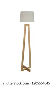 Wooden floor lamp isolated on white background