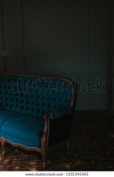 Excellent Wooden Floor Livingroom Velvet Blue Sofa Stock Photo Edit Evergreenethics Interior Chair Design Evergreenethicsorg