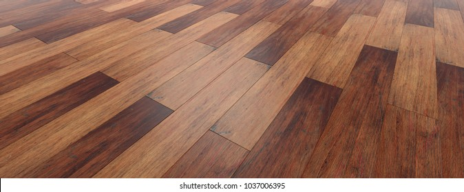 Wooden floor parquet background, perspective view from above, banner. 3d illustration