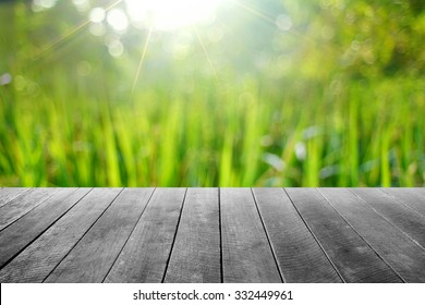 wooden floor with soft focus background.