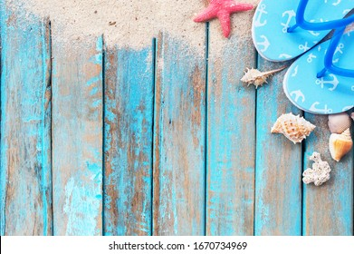 Wooden floors and ocean backdrop Suitable for a beach use. The beauty of nature