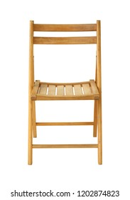 Wooden folding chair (with clipping path) isolated on white background