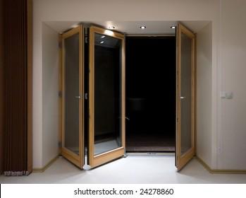 Wooden folding doors with lighting & Folding Doors Images Stock Photos u0026 Vectors | Shutterstock