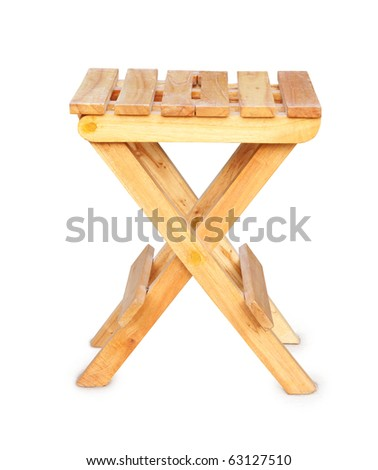 Astounding Wooden Folding Stool Over White Background Stock Photo Edit Squirreltailoven Fun Painted Chair Ideas Images Squirreltailovenorg