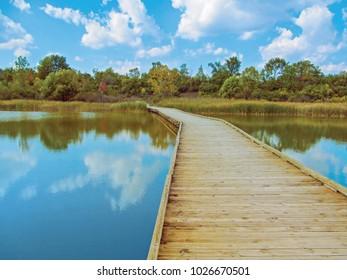 Wooden foot bridge in public park. Early autumn landscape in Lillie Park, Ann Arbor, Michigan, USA.