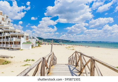 Wooden footbridge over the river. Black Sea Coast,  seaside resort Albena, Bulgaria