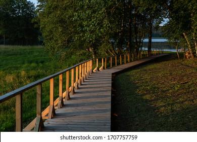wooden footbridges by the lake - Shutterstock ID 1707757759