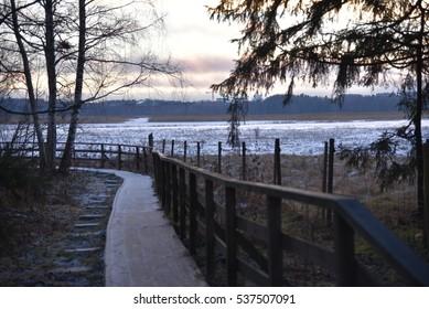 Wooden footpath in Espoo, Finland