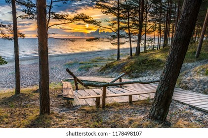 Wooden footpath leading to a shore of the Baltic Sea, Jurmala, Latvia