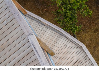 Wooden footpath on a outlook tower bridge photo in Bojnice, Slovakia.
