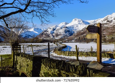 Wooden footpath signpost, Langdale Valley, Lake District, Cumbria