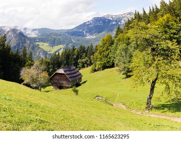 Wooden forester house green meadow forest beautiful landscape view, Slovenia Kamnik–Savinja Alps mountains range. Traveling Europe, tourism destination.