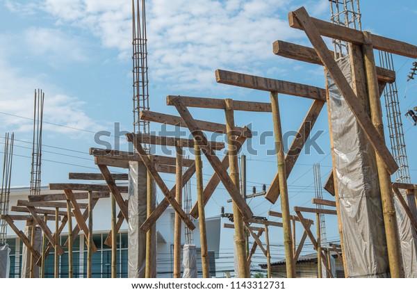 Wooden Formwork Concrete Beam Process Construction Stock Photo (Edit