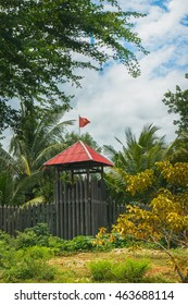 Wooden fortress at park