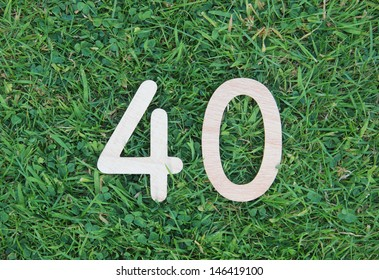 wooden forty on grass and clover background