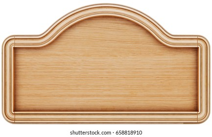 wooden frame board, menu board. isolated on white. 3d rendering