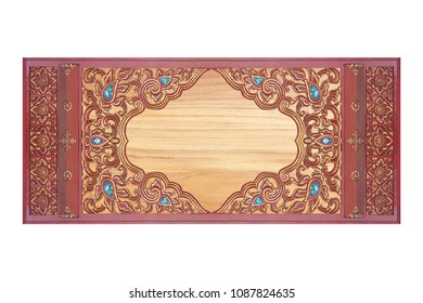 wooden frame carved flowers texture background