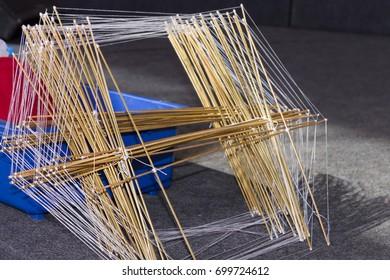 Wooden frame for kites - selective focus