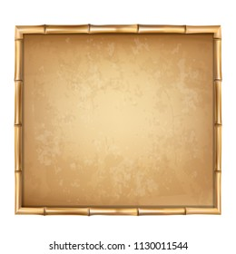 Wooden frame made of brown bamboo sticks with higly detailed vintage paper blank or canvas. Worn papyrus template, old grungy poster with space for text. clip art isolated on white background.