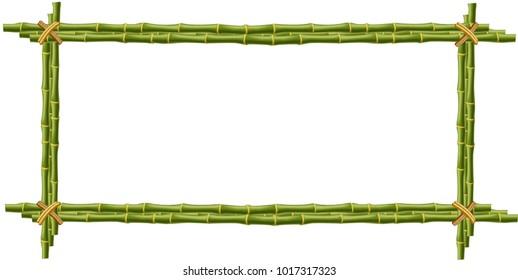 wooden frame made green bamboo sticks stock illustration 1017317344 rh shutterstock com