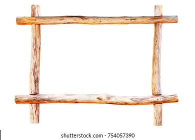 Wooden frame made of wood logs isolated on white background