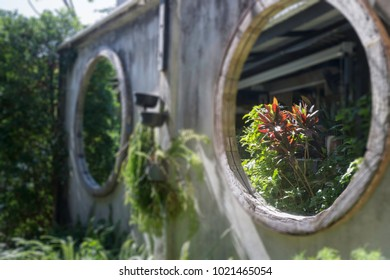 Wooden frame mirror decorated in garden, stock photo