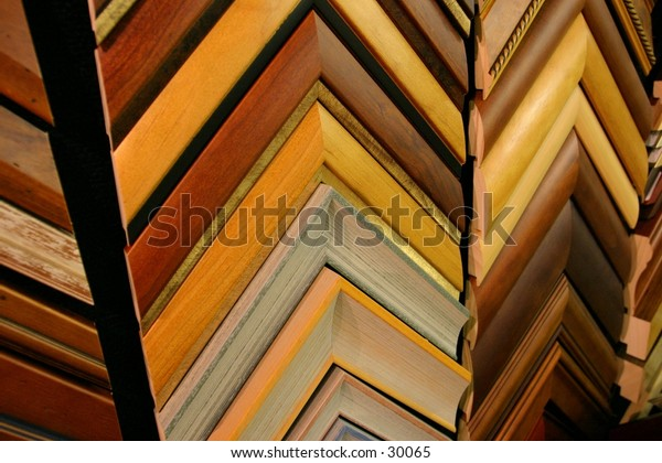 Wooden frame mouldings from an angle