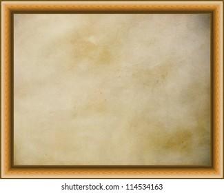 Wooden frame on  golden parchment background